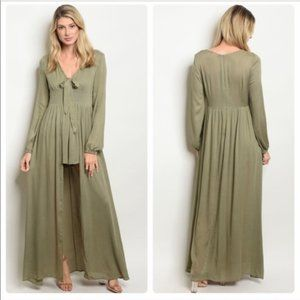 New! LUNIK Sage Green Shorts Romper Maxi Dress